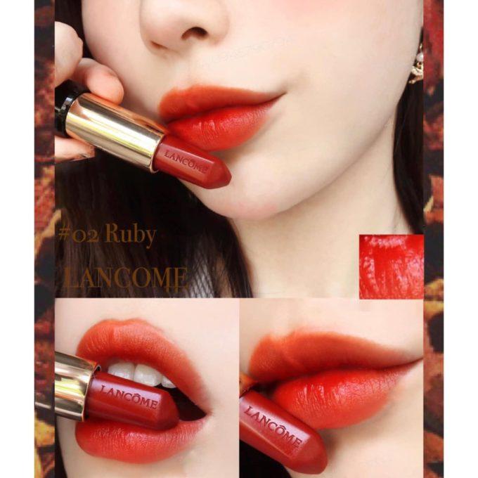 Son Lancome L'absolu Rouge Ruby Cream – 02 Ruby Queen (Vỏ đen)